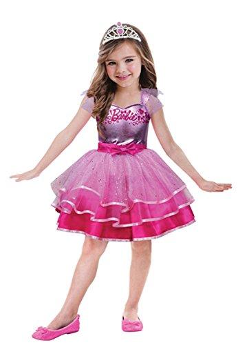 erkostüm Barbie Ballett, circa 8 - 10 Jahre, Gröߟe 132, pink (Barbie Märchen-prinzessin Halloween-kostüm)