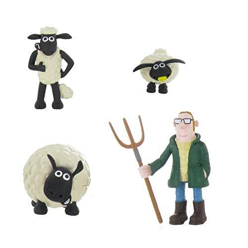 generisch Shaun das Schaf - Figur 4'er Set - Farmer, Shaun und Schafe Shirley Timmy - Kuchen Torten Deko - Sammelfigur - Spielfigur