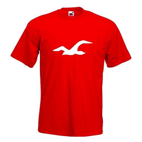 KIWISTAR - Möwe T-Shirt in 15 verschiedenen Farben - Herren Funshirt bedruckt Design Sprüche Spruch Motive Oberteil Baumwolle Print Größe S M L XL XXL Rot