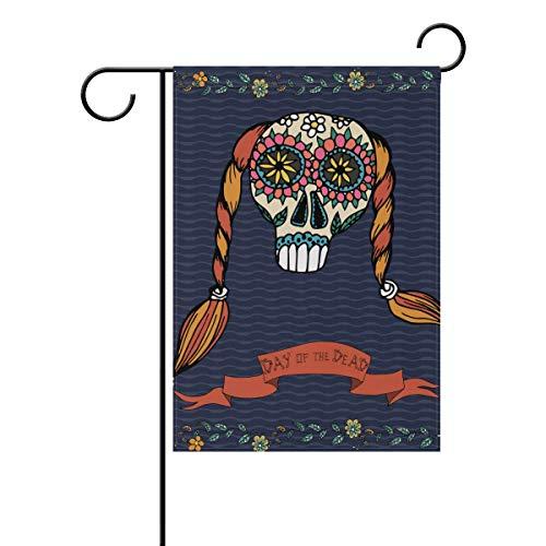 SUNOP Polyester-Gartenflagge, mexikanischer Tag der Toten, 30,5 x 45,7 cm, für den Außenbereich, Haus, Garten, Blumentopf, Dekoration, Partyzubehör, Hausflagge (Mexikanische Blumentöpfe)