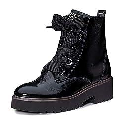 Paul Green 9432 005 Damen Sportiver Boots aus Lackleder Lederinnenausstattung, Groesse 42, schwarz