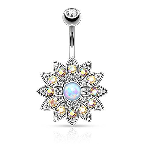 Piercingfaktor Bauchnabelpiercing Banane Piercing Bauch Stecker Gebogen mit Top Down Blume Kristallen und Opal Silber Rainbow