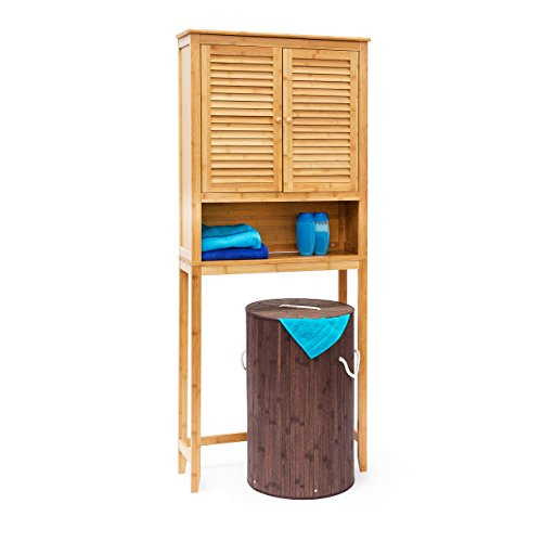 Der über Kosmetik-schrank Tür, (Relaxdays Waschmaschinenschrank LAMELL Bambus, Überschrank, Badschrank mit Flügeltüren, Holz, Ablage, HxBxT: ca. 170 x 70 x 22,5 cm, natur)
