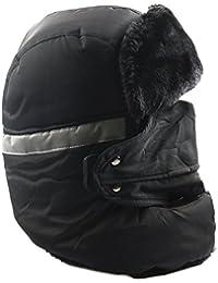 Unisex invierno impermeable Trooper Trapper Hat, viento estilo ruso sombrero, bombardero aviador Ear Flap cálido gorro de esquí con desmontable máscara, mejor regalo de Navidad para hombres o mujeres, Black 2, talla única