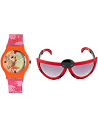 Fantasy World Orange Watch And Red Sunglass Combo For Boys And Girls