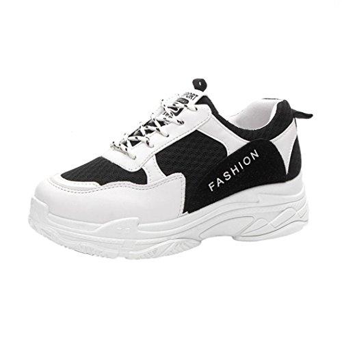 Plateauschuhe Damen,❤️Absolute Frauen Mode Sneaker Plattformschuhe Bequeme Sportschuhe Freizeitschuhe Brief Einzelne Schuhe Sommer Neue Laufschuhe Patchwork Turnschuhe (EU:39/CN:39, Schwarz)