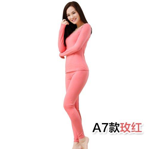ZHUDJ Pur Coton Sous-Vêtements Thermiques Des Couples, Hommes Et Femmes V-Cou Frapper Le Sol Basé ? Chiu Yi Chau Pantalon! 12