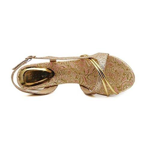 W&LM Signorina Tacchi alti sandali Oro È buono Tacchi alti Scarpe casual Piede punta sandali golden