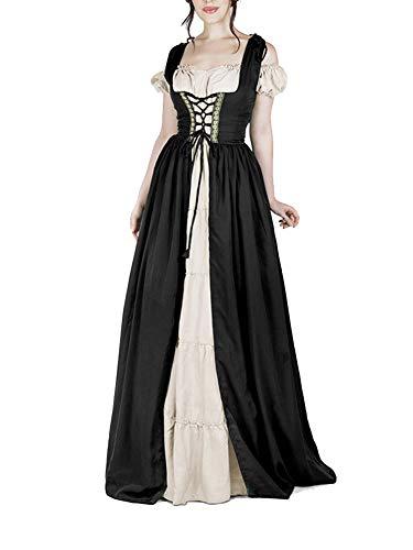 Guiran Damen Mittelalter Kostüm Kleider Viktorianischen Party Kleid Schwarz 5XL
