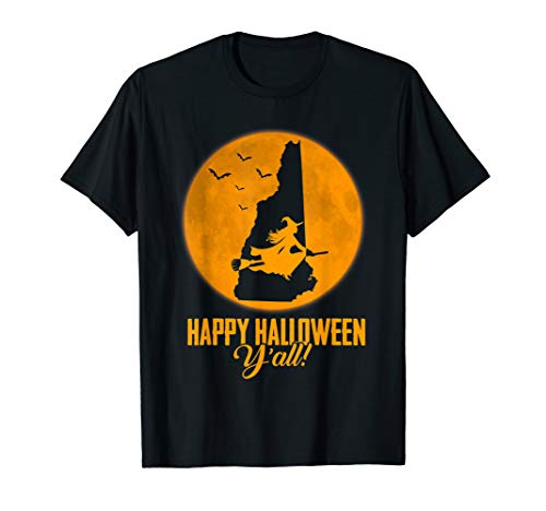 Happy Halloween Y'all New Hampshire Witch Map T-shirt (New Hampshire Halloween)