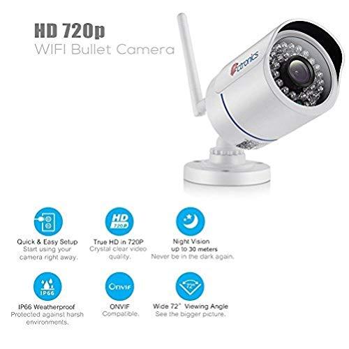 Cámara IP 720P, Ctronics WiFi Cámara de Seguridad Exterior de Vigilancia  inalámbrica de balas Camera con Impermeable,Grabación Automática, Visión