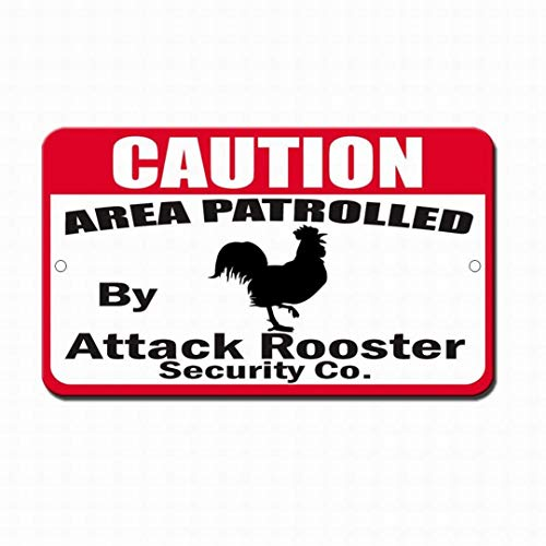 cwb2jcwb2jcwb2j Metal Sign Safety Sign Danger Sign Patrolled by Attack Rooster Warning Caution S Metal Outdoor Street Road Decor Tin Metal Decor Sign Quality Aluminum(Set of 1) Le Rooster Set