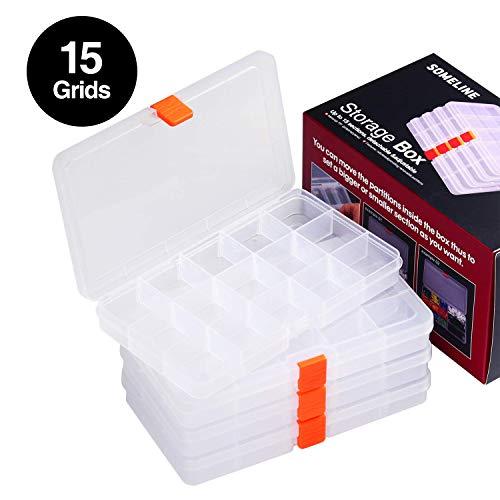 SOMELINE Kunststoff Aufbewahrungsbox Schmuckkasten für Schmuck Perlen Ohrring Zubehötritver Einstellbar Sortimentskasten mit 15 Gitter Klar Plastik Sortierboxen 4 Stück