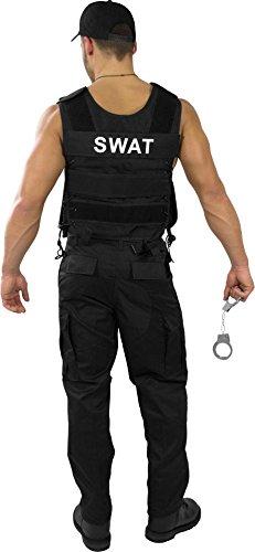 Karnevalskostüm SWAT / Security / Polizei Outfit aus Einsatzweste, Hose, Pistolenholster, Cap, Handschellen, Hundemarke und abnehmbaren Patch [S-4XL] Farbe SWAT Größe M (Handschellen Hosen)