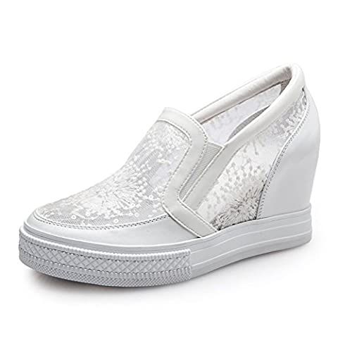 Nude shoes,breathable slopes and love shoes,women's shoes in the flat-bottomed dermal gauze-B Foot length=23.8CM(9.4Inch)
