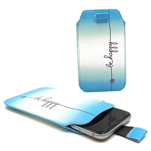 Handy Hülle Slide Tasche Etui Case Schutzhülle Bumper Cover Sleeve Universal Neu, Motive:Be Happy Blau, Handymodell:Gionee Ctrl V5