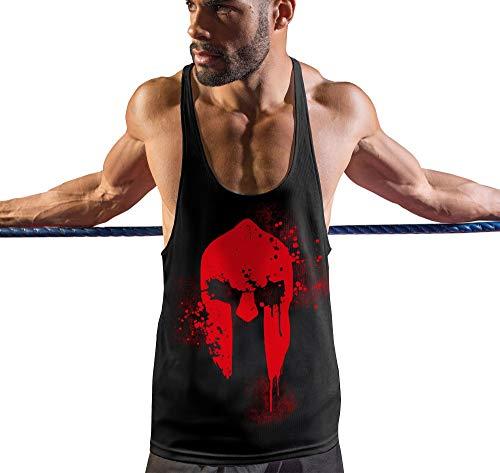 Sparta Tank (Stylotex Stringer Fitness Tank Tops Spartan Helmet Herren Gym Tshirts für Performance beim Training | Männer ärmellos | Funktionelle Sport Bekleidung, Größe:XL, Farbe:schwarz)