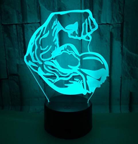 3D Optical Illusion Lampe Perle 7 Farbänderung Berühren Sie Empfindliches Led-Nachtlicht Des Schalters Mit Acrylflachem, Abs-Unterseite, Usb-Gebühr Für Hauptdekor Perfekte Geschenke Für -