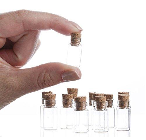 (KingDao 10kleine Glücksbringer, Regenbogen, Transparent/Korken-Flaschen, glas, durchsichtig, 1ML)