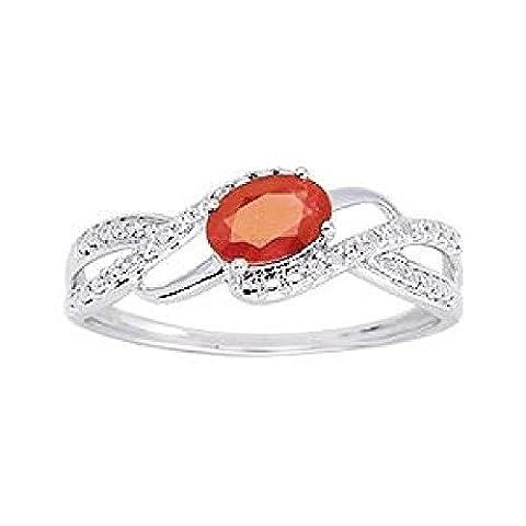 So Chic Bijoux © Bague Anneau Femme Vagues Solitaire Rubis Rouge & Diamants 0,04 ct Or Blanc 375/000 (9 carats) - Taille