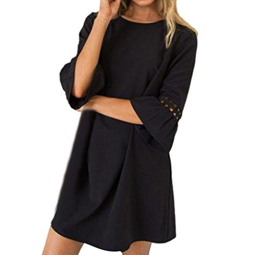 eid Damen, DoraMe Frauen 2018 Neue Lautsprecher Ärmel Minikleid Mode Lässig Sommer Kleid Rundhals Abend Kleid Lose Solide Party Kleid (Schwarz, Asien Größe M) (Gatsby-mode Frauen)
