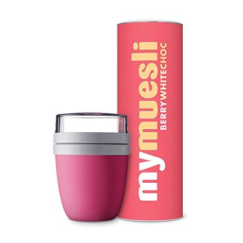 mymuesli 2go-Becher - Magenta - Paket mit Berry-White-Choc Bio-Müsli - 575g - Hergestellt in Deutschland aus 100% Bio-Zutaten - 1 X Magenta-paket