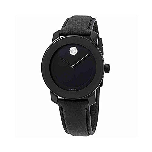 Movado Women's Black Leather Band Steel Case Swiss Quartz Analog Watch 3600483