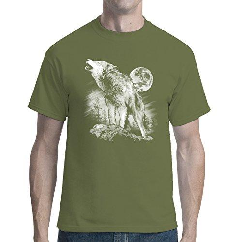 Fun unisex T-Shirt - Heulender Wolf by Im-Shirt Oliv