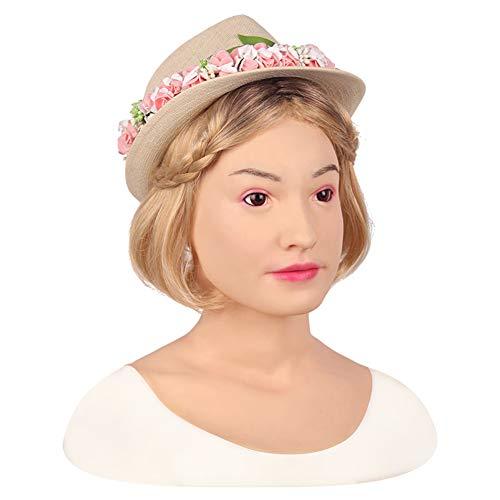 FHSGG Realistische silikon weibliche Maske hochwertige weibliche Kopfbedeckung Maskerade für Crossdresser göttin Gesicht Halloween Drag Queen,Bronze