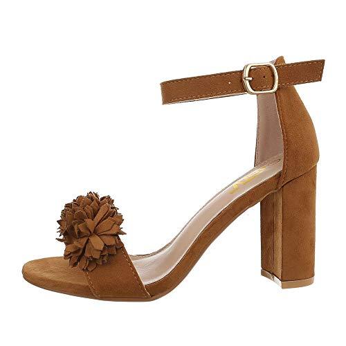 Ital-Design Damenschuhe Sandalen & Sandaletten High Heel Sandaletten Synthetik Camel Gr. 39 9 High Heels