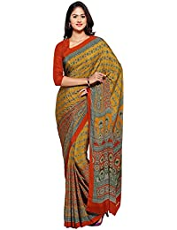 Ligalz Women's Yellow And Red Crepe Silk Saree (saree For Women Latest Design 2018)