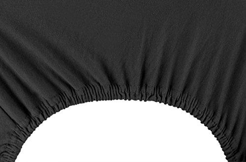 DecoKing 18385 80x200-90x200 cm Spannbettlaken schwarz 100% Baumwolle Jersey Boxspringbett Spannbetttuch Bettlaken Betttuch Black Nephrite Collection - 6