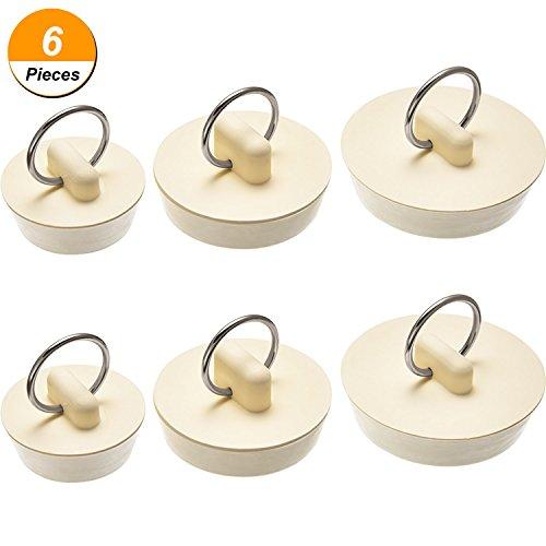 6 Stück Gummi Waschbecken Stopper Set Drain Stopper Plug mit hängenden Ring für Badewanne, Küche und Bad, 3 Größen, Weiß
