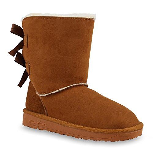 501d5d85d9f34c Damen Schlupfstiefel Warm Gefütterte Stiefel Schleifen Ketten Nieten Print  Schuhe Blumen Pailletten Winter Boots Flandell Hellbraun