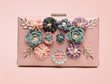 Koreanische Version des Blumenbeutels, Beutel, Handtasche, Bankettpaket, Handtaschen, Kettenschrägrucksack, kleine quadratische Tasche, Kettenhandtasche ( Farbe : Rose red ) Pink