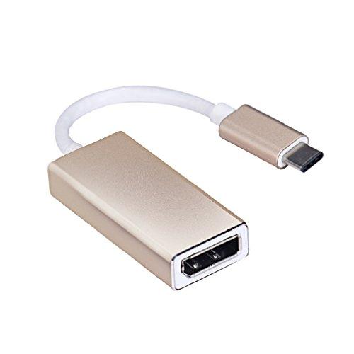 Tonsee USB 3.1 Typ C Display Port Full HD 1080p Adapter Kabel für Monitor Projektor,gold (gold) 1080p Gold Kabel