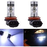 KaTur Luces para intermitentes, luces de conducción diurna o de niebla, 1800lúmenes, muy brillantes, 100W alta potencia, chips LED CREE XBD 282820SMD, aluminio 9005HB3H10 9145 9140, CC 12V Blanco 8000K (Pack de 2)