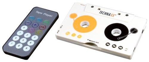 Technaxx DT-02 Adattatore di cassette (senza cavo, lettore MP3, cuffie, slot SDHC, batteria al litio integratam per autoradio e deck)