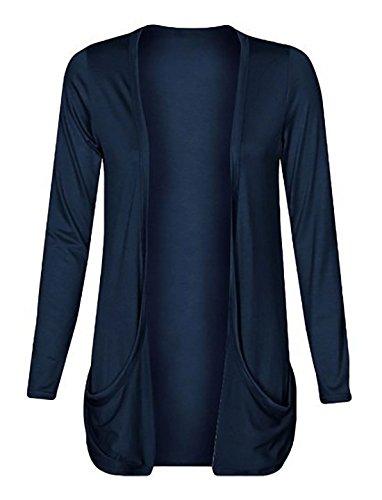 Damen Strickjacke, offen, lockere Taschen, große Größen, Gr. 46-56 Gr. XXL, navy -