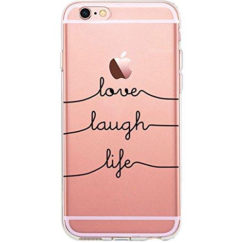 GIRLSCASES® | iPhone 6-6S Plus Hülle | Mit coolen Spruch Aufdruck Motiv | Think outside the box | Case transparente Schutzhülle | Farbe: schwarz | love.laugh.life - schwarz