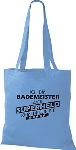 Shirtstown Stoffbeutel Ich bin Bademeister, weil Superheld kein Beruf ist hellblau