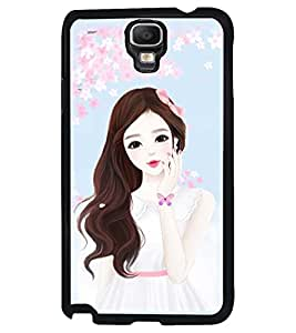 Printvisa Cute Girl Flower Shower Pic Back Case Cover for Samsung Galaxy Note 3 Neo N7505