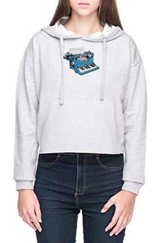 Vendax Das Zusammensetzung - O Damen Bauchfreies Crop Kapuzenpullover Sweatshirt Grau Women's Crop Hoodie Grey