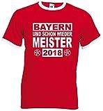 FOL / world-of-shirt München und Schon Wieder Meister Fan Retro T-Shirtrot-XXL