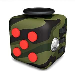 Tepoinn Fidget Cube con 6 funzioni Dadi di StressAgitarsi Cube Allevia lo Stress e l'ansia Giocattoli Articoli da regalo Per Bambini e Adulti (Verde Camouflage)