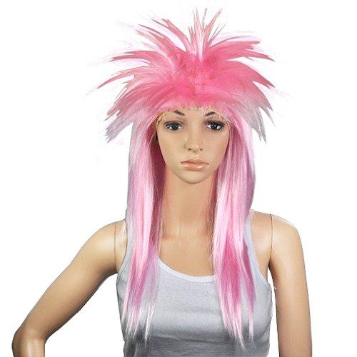 Glam Punk Rock Rocker-Kueken Tina Turner Peruecke fuer eine Kostuem - rosa (Rocker-küken-kostüm)