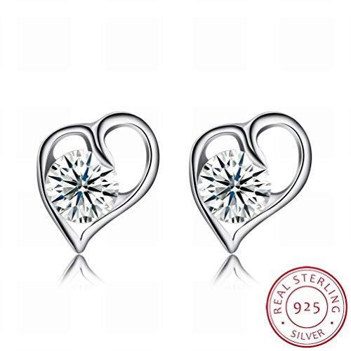 W-E Mode Mode Ohrringe mit Sterling Silber Ohrringe Eingelegt/Edelstahl/Anti-Allergie/Silber Glanz/Diamant/White Crystal/Klein und Fein, Bildfarbe -