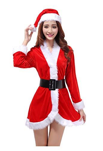 SDLRYF Babbo Natale Vestito Costume di Natale Uomini E Donne Adulti Santa Costumi Uniformi di Partito(1Pc)