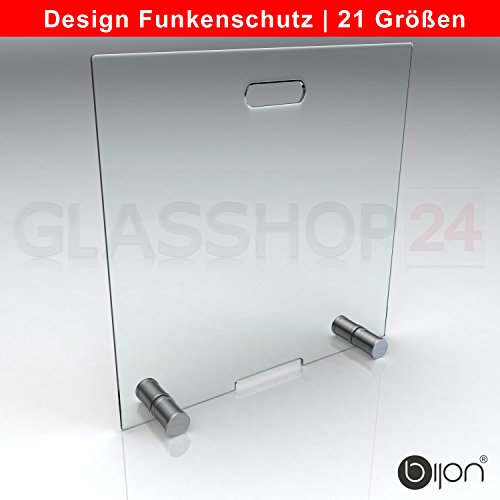 glasshop24 bijon® Design Funkenschutz aus Spezial-Sicherheitsglas HxB 700x800mm | Kamin Ofen Glas Funkenschutzgitter