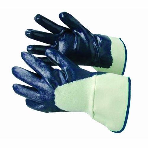 Bon 84-385 Predator Lot de 12 paires de gants Haute résistance Paume enduite de nitrile Doublure jersey de coton Bleu Large